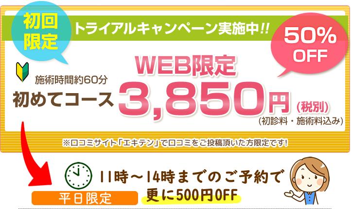 初回限定トライアルキャンペーン実施中!!初めてコース3900円